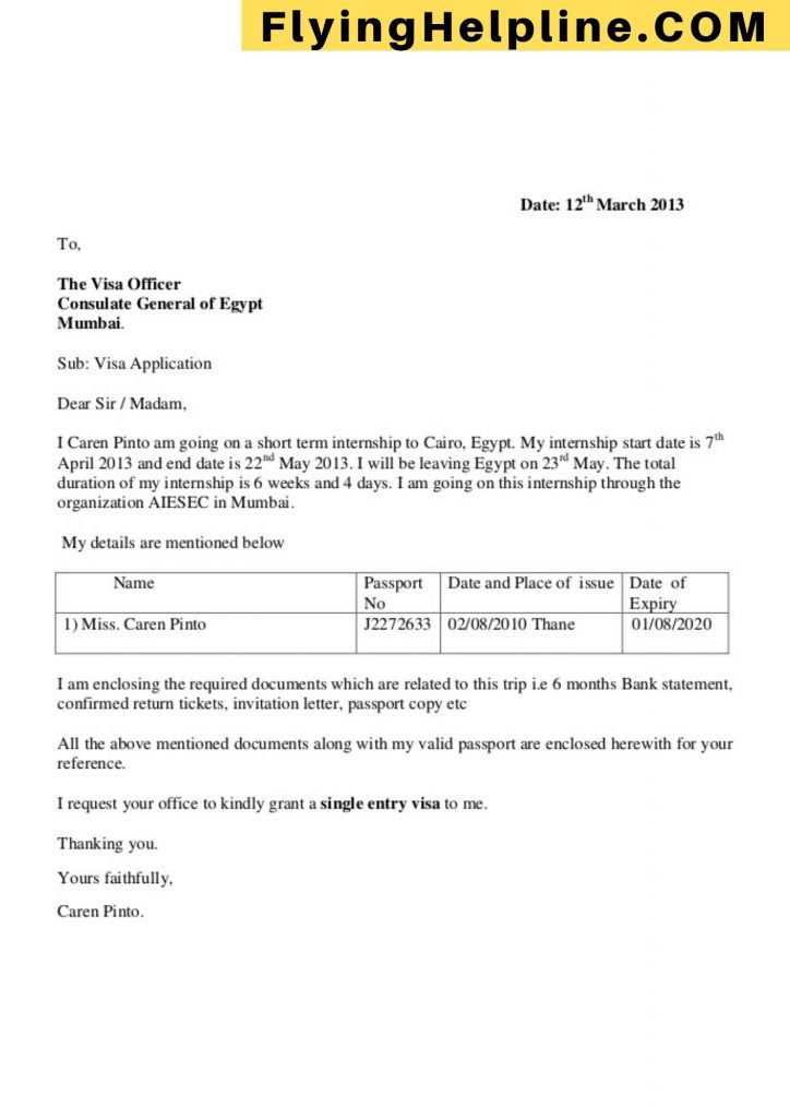 covering letter for business visa flyinghelpline