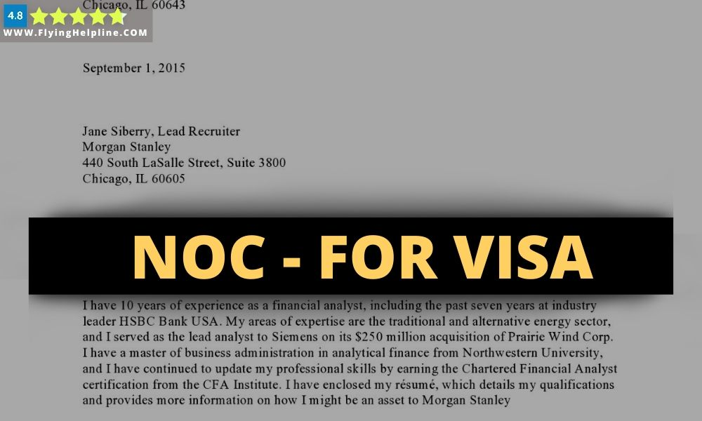 NOC letter for visa application from company
