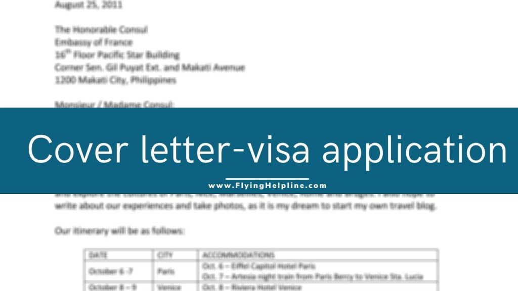 cover letter for visa application sample flyinghelpline